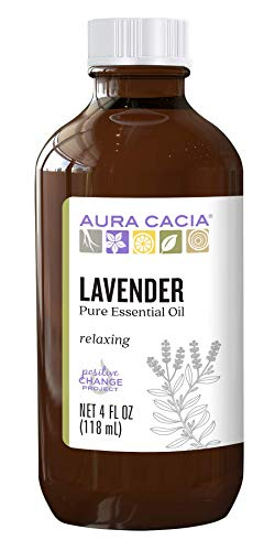 Aura Cacia 100% Pure Lavender Essential Oil | GC/MS Tested for Purity | 120 ml (4 fl. oz.) | Lavandula angustifolia