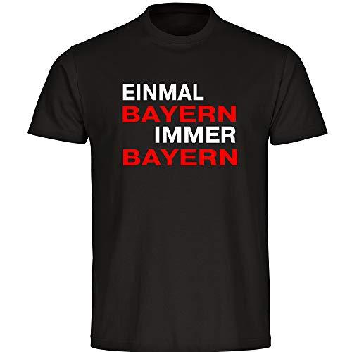 T-Shirt Einmal Bayern, Immer Bayern schwarz Herren Gr. S bis 5XL - Bayern Fußball München Fanartikel, Größe:XL
