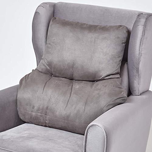 Homescapes graues Rückenkissen mit Veloursbezug, Lordosenstütze für Sessel, Bürostühle, Couch oder Bett, 68 x 58 x 15 cm, Lendenkissen zur ergonomischen Entlastung von Rücken und Wirbelsäule