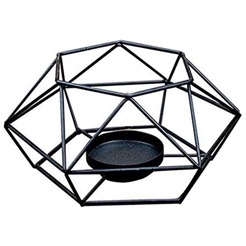 Cxssxling Portacandele con struttura in ferro per aromaterapia, fornace di oli essenziali, portacandele in metallo con geometria e candelabro, diffusore di aromi (13 x 13 x 5,5 cm)