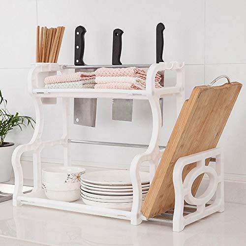 TIANTUOS Multifunktionale Kreative Doppel Kunststoff Cutter Menage Storage Rack Küche Rack Rahmen (Farbe : Weiß)
