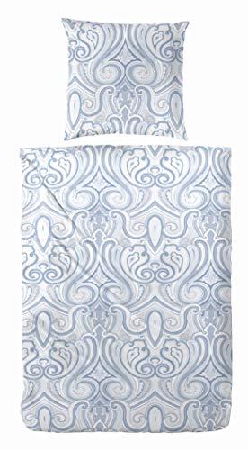 Primera Edelflanell Biber Bettwäsche 135x200 Ornamente Sand beige blau 174127-37