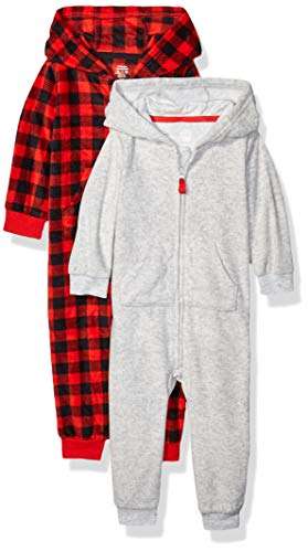 Amazon Essentials 2-Pack Microfleece Hooded Coverall Fashion-Hoodies, Grey Buffalo Check, Bebé prematuro