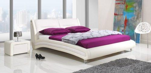 Design Luxus Lounge Polsterbett Doppelbett Futon-Bett Leder Weiß SL06 NEU!