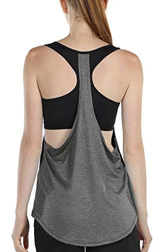 icyzone Camiseta de tirantes para mujer con sujetador – 2 en 1...
