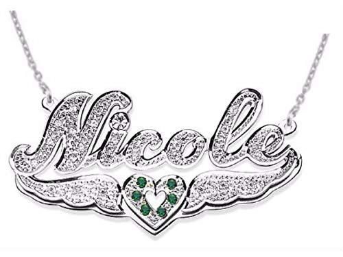 Collana personalizzata in argento Sterling con doppia targhetta in 3D con diamanti da 15 mm e catenina da 45,7 cm.