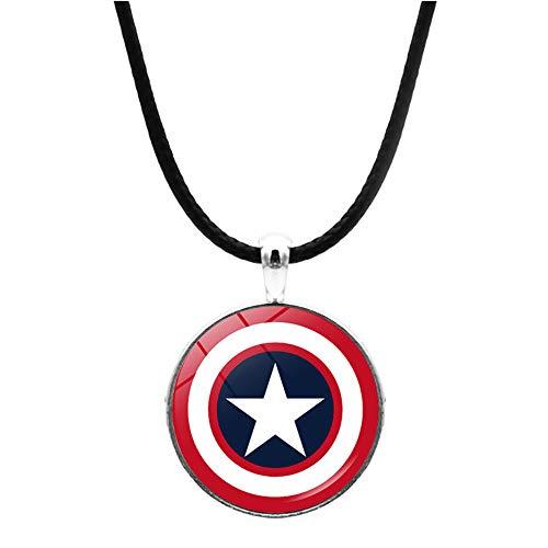 Collares del escudo del Capitán América para mujeres y hombres, Marvel Los Vengadores 4 Endgame de cuero, collar con colgante de cúpula de cristal, joyería de fiesta regalo