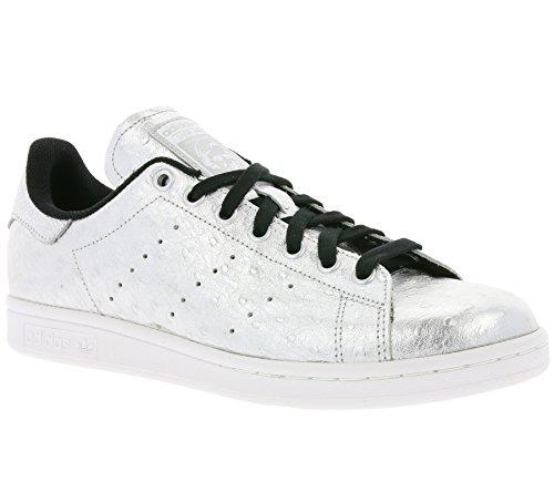 adidas Originals Stan Smith Schuhe Echtleder-Sneaker Turnschuhe Silber AQ4706, Größenauswahl:41 1/3