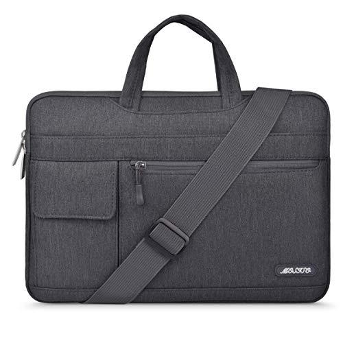 MOSISO Laptop Schultertasche Kompatibel mit MacBook Pro 16 Zoll Touch Bar A2141 2020 2019, 15-15,6 Zoll MacBook Pro Retina, Notebook, Polyester Flapover Messenger Aktentasche Handtasche, Space Grau