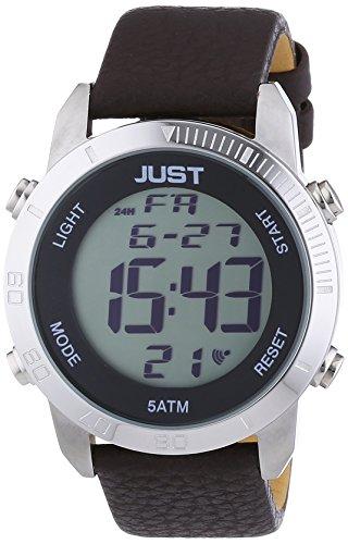 Just Watches 48-S10876-SL-BR - Orologio da polso da uomo, digitale, al quarzo, in pelle