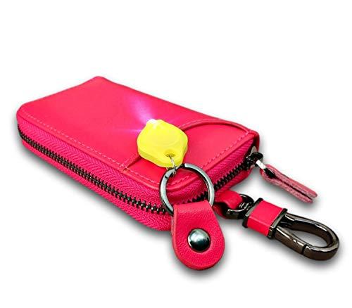 (TERA Dream) キーケース ミニライト スマートキーケース 6連 本革 メンズ 外側ポケット付き 車の鍵 家の鍵 カード スマートキー 電車の定期券 門限カード 紙幣の小銭 ドアの鍵 TR275 (ローズ カラビナ付き)