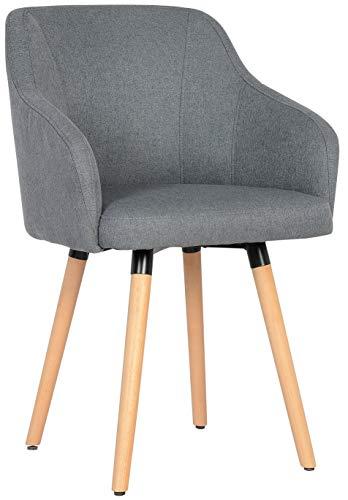 SixBros. 7001X/7681 Esszimmerstuhl aus Stoff - Polsterstuhl mit Armlehne – Polstersessel in grau – Stuhl für Esszimmer Wohnzimmer Küche