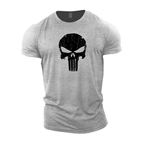 GYMTIER Mens T-Shirt de Musculation - Skull - vêtements d'entraînement de Gym