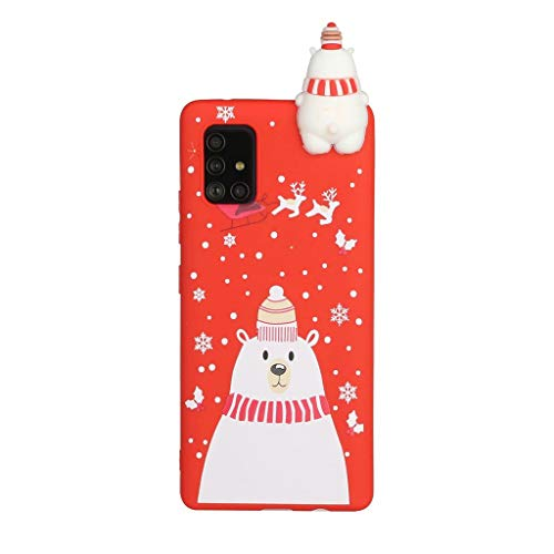 Fanxwu Compatible with Samsung Galaxy A31 Case Soft 3D Silicone Case Ultra Slim TPU Gel Flexible Protective Back Cover Anti-Scratch Case - Polar Bear in White Hat