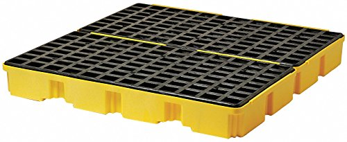 Eagle 1634 Yellow and Black Polyethylene 4 Drum Modular Spill Platform with Flat Top Grating, 10000 lbs Load Capacity, 52.5' Length, 51.5' Width, 6.5' Height