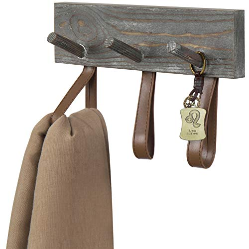 MyGift 6-Hook Vintage Gray White Wood Wall Mounted Coat Rack