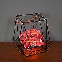 Delisouls Luz de chimenea de carbón, lámpara de llama de carbón de imitación, luz decorativa de carbón LED para oficina en casa