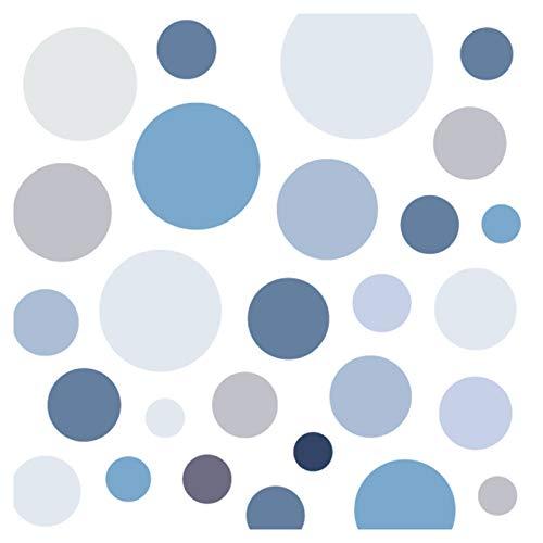 Little Deco Wandsticker 86 Punkte Kinderzimmer Junge Kreise | blau grau | viele Farben Wandtattoo Klebepunkte Wandaufkleber Dots bunt DL390