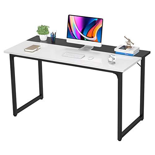 Desk Computer Desk 47 Inch Home Office Study Writing Desk PC Laptop Desk Table Modern Simple Sturdy Gaming Desks Wooden Desk Space Saving Easy to Assemble Desk, White and Black