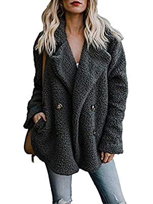 Famulily Women's Winter Warm Oversized Fleece Fuzzy Coat Cardigans with Pockets Fluffy Jacket Outwear Dark Grey Large by