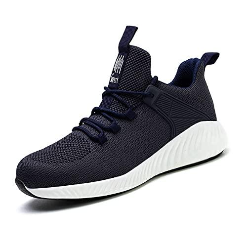 Aingrirn Zapatillas de Seguridad Hombre Mujer Transpirables Anti-Deslizante Zapatos de Trabajo Anti-Piercing Ultraligero Comodos (Color : Navy, Size : 48 EU)