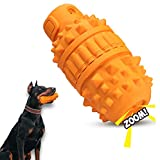 Dog Toy for Aggressive Chewers - Tough Squeaky Chew for Medium & Large Breeds & Teething Pets - Helps Clean Teeth & Relieve Boredom - Made of Heavy Duty, Safe, Natural Rubber - Bright Orange