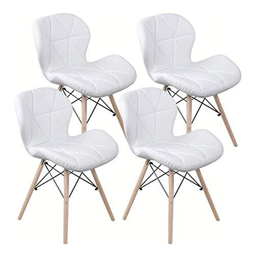 LOVEMYHOUSE Polsterstuhl Esszimmer Ruby Stuhl, Weiß, Retro Design Kunstleder Holzgestell,Esstische Set 4