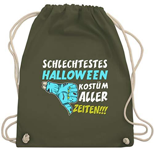 Shirtracer Halloween - Schlechtestes Halloween Kostüm aller Zeiten - Unisize - Olivgrün WM110 - Turnbeutel und Stoffbeutel aus Baumwolle