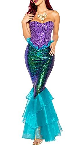 Loalirando Damen Meerjungfrau Kostüm Halloween Mermaid Bühnenkostüme Pailletten Maxikleid Cosplay Bandeau Kleid Karneval Abendkleid (Blau, M)