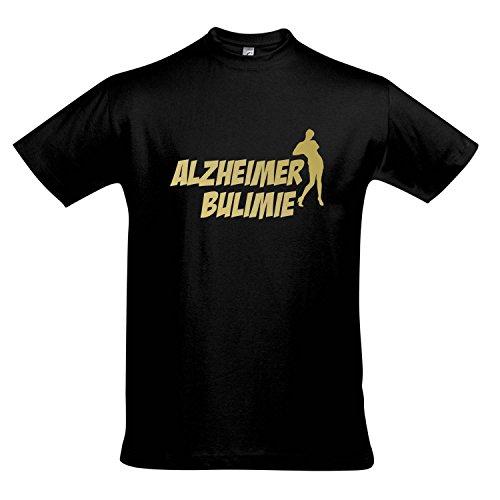 T-Shirt ALZHEIMER BULIMIE - FUN KULT SHIRT S-XXL , Deep black - gold , S