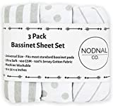 NODNAL CO. Bassinet Fitted Sheet Set 3 Pack 100% Jersey Gray Cotton for Baby Girl/Boy - Grey Chevron, Polka Dot and Stripe 160 GSM Sheets