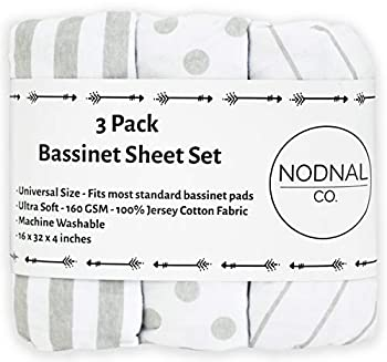 NODNAL CO Bassinet Fitted Sheet Set 3 Pack 100% Jersey Gray Cotton for Baby Girl/Boy - Grey Chevron Polka Dot and Stripe 160 GSM Sheets