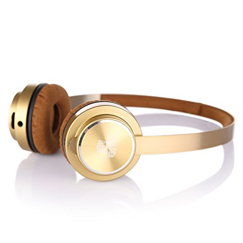 LETTON Golden Age M6 Stereo Headsets In-line Microphone and Stretchable Headband, Great Heavy Bass For iPhone, All Android Smartphones, Pc, Laptop,Mp3/mp4, Tablet Headphone (Gold)
