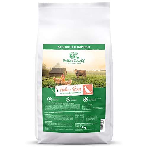 Müllers Naturhof | Huhn & Rind | 15 kg | Gartengemüse & Wiesenkräuter | Natürlich kaltgepresst | getreidefrei | Trockenfutter für alle Hunderassen | Traditionell hergestellt