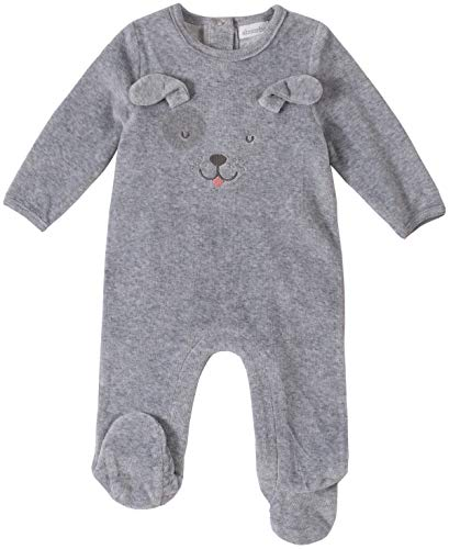 absorba Baby Boys Footie-Velour, Gray, 3-6 Months