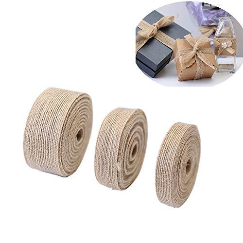 3 Rollen/30M Natürliche schöne Jute-Bänder zum Basteln, für Events, Partys und Zuhause,Juteband Vintage Geschenkband für Nähen DIY Handwerk Hochzeit Party Weihnachten Deko (1.5cm,2.5cm,3.8cm)