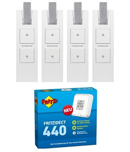 RADEMACHER RolloTron DECT Gurtwickler Set mit AVM FRITZ DECT 440 Taster. Smart Home Rolladensteuerung für Ihre FRITZBox für 4 Rolläden. Mit App und Fernzugriff.