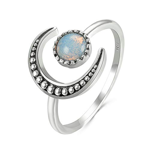 Syfinee Moonstone Ring Moon Circle Ring for Women - Anillo del círculo lunar