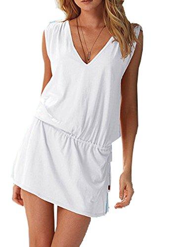 Wander Agio Womens V-Neck Sleeveless Princess Dress Beach Cover-up Pure White