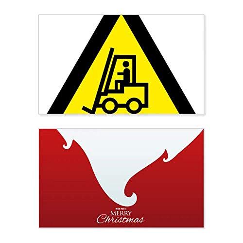 Waarschuwing Symbool Geel Zwart Heftruck Driehoek Vakantie Vrolijk Kerstkaart Kerstmis Vintage Bericht