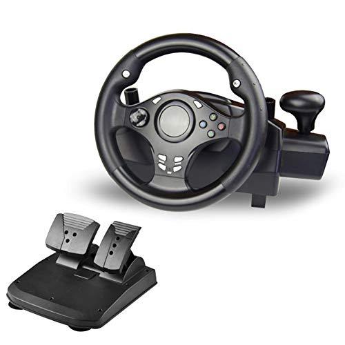 SJZC Volant, Volant de Course,Jeu de Course sur Ordinateur avec Vibration, pour PS4 / PS3 / PS2 / Xbox-One/XBOX-360 / PC/NSSWITCH