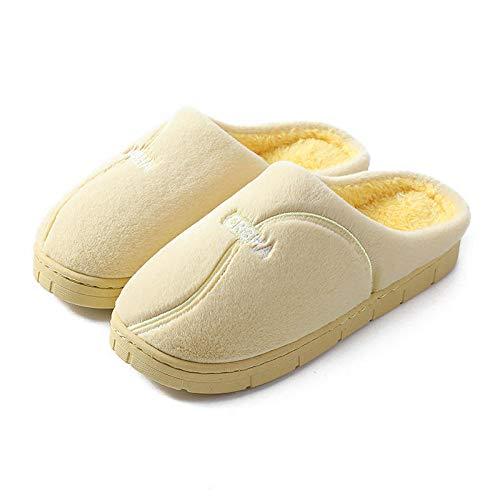 ypyrhh Zapatillas de casa de punto cómodas, zapatillas de algodón con suela gruesa, zapatillas de terciopelo con tacón D amarillo_38-39, zapatos antideslizantes con forro polar
