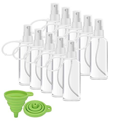 Crenics Plastic Clear Spray Bottles 10PCS Portable Empty with Keychain Fine Mist Sprayer Leakproof TSA Approved Cosmetic Atomizer Liquid Refillable Spray Travel Bottles(3.4oz/100ml)