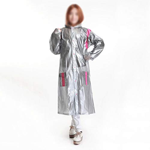 YWSZJ Trench de Mujer Abrigo Largo Rojo Plata Gruesa súper Grande Trinchera Lluvia Abrigo Viaje Invierno Camping Lluvia Poncho Impermeable Mujer (Color : Silver, Size : XXX-Large)