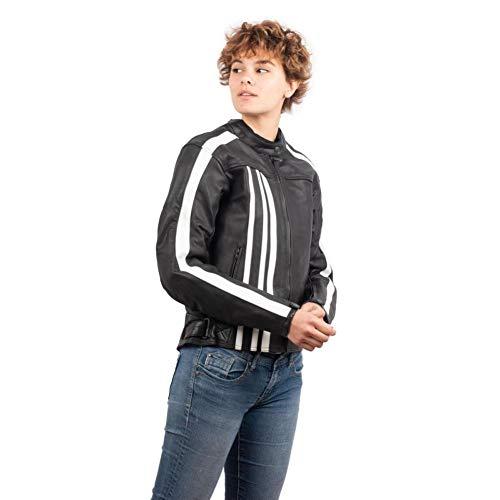 RIDER-TEC – Blouson Moto Cuir Vintage Femme – Noir&Blanc – Protections Homologuées CE Fournies – Cuir Résistant - Taille-XL