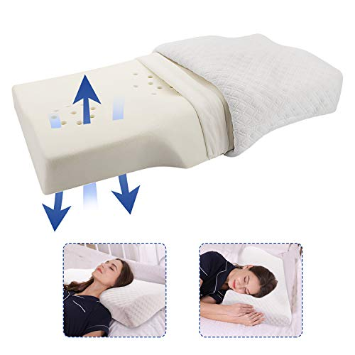 Cervical Pillow for Neck and Shoulder Pain, Coisum Orthopedic Memory Foam Pillow Ergonomic Bed Pillow for Side Sleepers Back Sleepers, Neck Support Pillow Contoured Pillow with Breathable Core