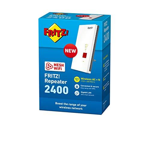AVM Fritz!Repeater 2400 International WiFi AC+N Repeater Extender Dual Band (1.733 Mbps/5 GHz und 600 Mbps/2,4 GHz), Mesh, WLAN-Access Point, 1 Gigabit LAN Ports, WPS, E-Schnittstelle Spanisch