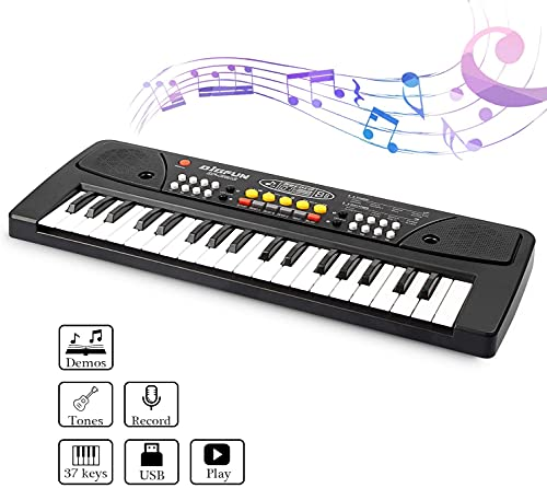 Amazing Shop Jay Stationary New Piano-1 37-Key Electronic Piano Keyboard Toy with DC Power Option, Recording and Microphone - Black