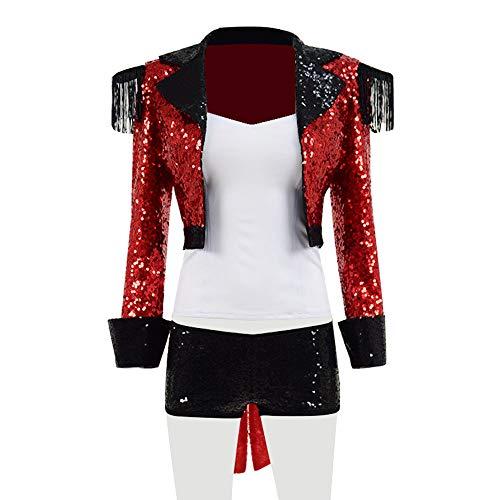 Yewei Damen Paillette Rot Zirkus Show Kostüm Halloween Karneval Kostüm Outfit (Rot, M)