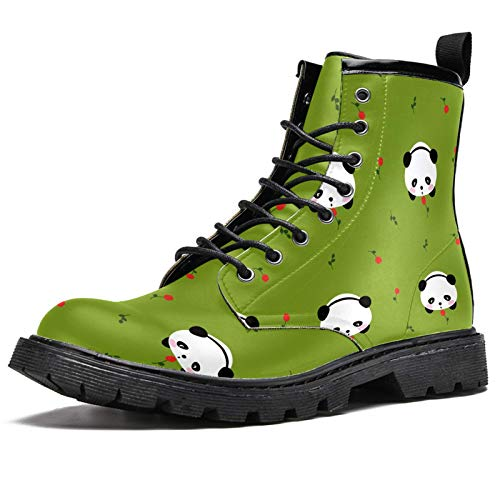 LORVIES Cute Bear Kawaii Mochi Panda Flower Pattern Men's High Top Boots Lace Up Casual Leather Ankle Shoes